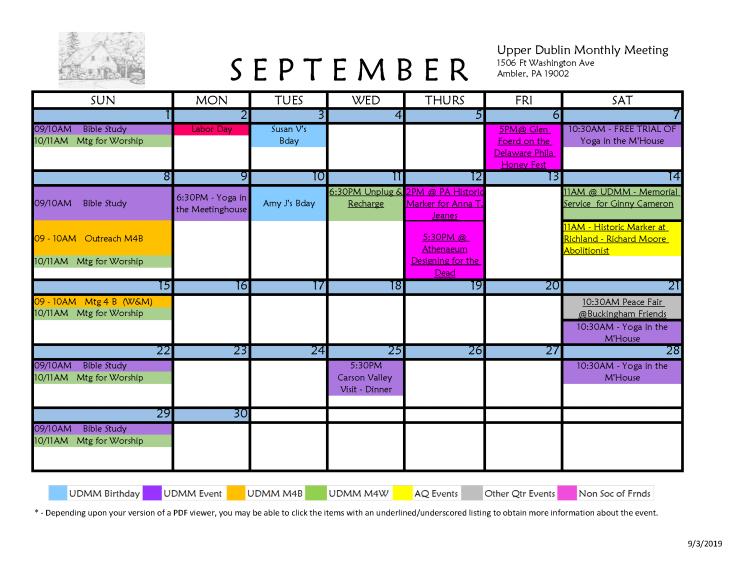 09-2019 Calendar Upper Dublin Monthly Meeting