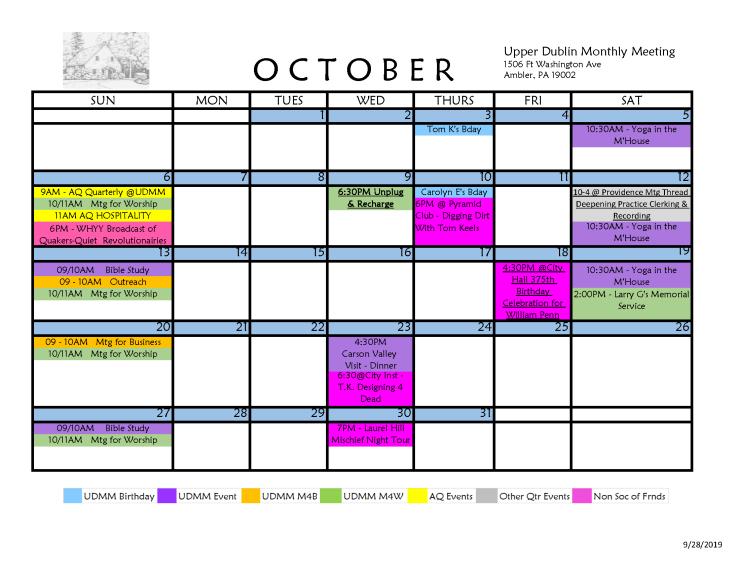 10-2019 Final Calendar PDF UDMM Monthly Meeting