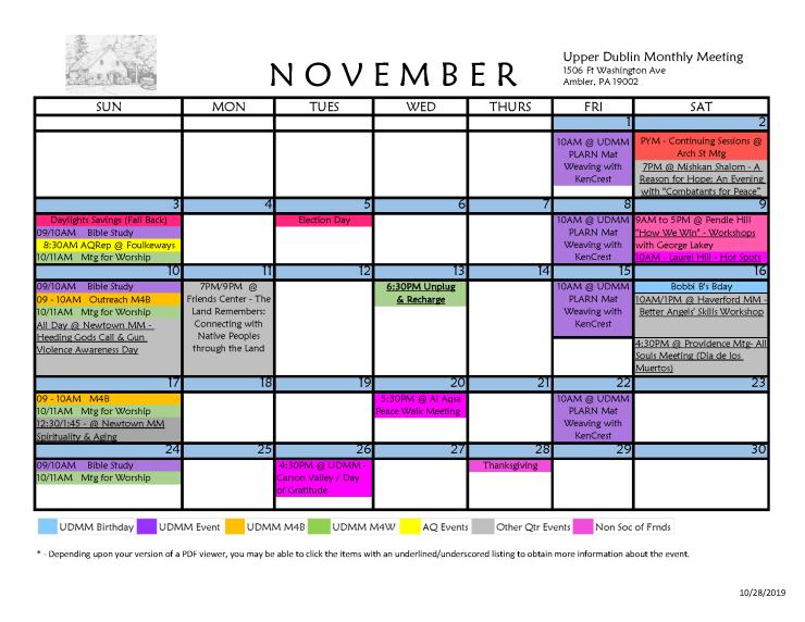 11-2019 UDMM Calendar